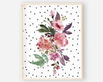 Baby Girl Floral Nursery Digital Print | Nursery Wall Art | Polka Dot Floral Wall Art | Burgundy Floral Nursery Decor | Aubrey Floral 3
