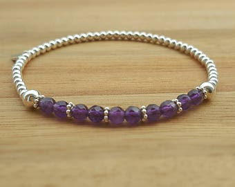 Amethyst Bracelet, Amethyst Jewellery, February Birthstone, Purple Ombre, Delicate Stacking Bracelet, Amethyst Jewelry, Gift For Wife