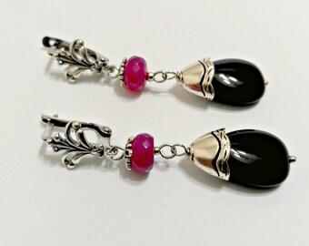 Teardrop earrings, black earrings, silver earrings, earrings with spinel, ruby earrings.