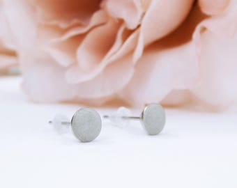 Earrings Concrete Minimalist concrete jewelry-small and round with silver-colored studs concrete grey silver jewelry-Concrete Jewelry