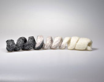 Felted cat toy Black gray and white spiral for cat Felted spring - toy for pat Handmade felt snake