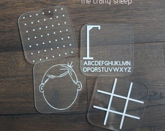 Acrylic Game Squares - Set of 4