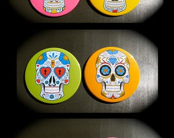 Set of 6 large Magnets 88 mms 'Calavera'