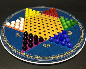 Metal Chinese Checkers with Marbles and Checkers Game Board on Reverse, Round Tin Box Game Board