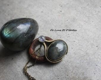 cabochon Moonstone and labradorite necklace