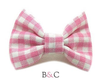 3-ply pink Gingham Bow Barrette.