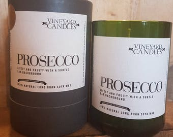 Prosecco Candle - Vineyard Candle - Alcohol Themed - Recycled Wine Bottles - Handmade - Large
