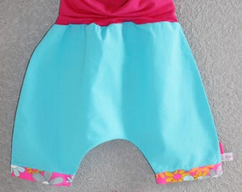 "Scalable 9/12 M, neon ""petit pan"" fabric and hot pink fine jersey short harem pants."
