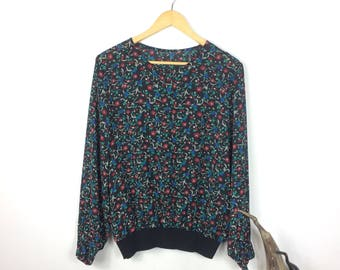 Vintage Floaty Floral Blouse - Black Semi Sheer Flower Print Long Sleeve See Through Shirt 80s Vtg Geometric Multi Colour Top - Medium Large