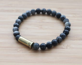 beaded bullet shell bracelet | black marbled