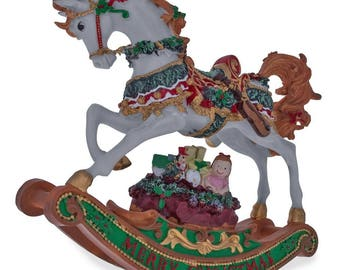 "8"" Rocking Horse with Christmas Gifts Music Box Figurine"