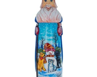 "11"" Snowman with Dog & Cat Friends Hand Carved Solid Wood Santa Figurine"