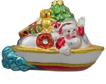 """3.5"""" Santa in a Boat full of Gifts Christmas Tree and Gifts on a Boat Blown Glass Ornament"""