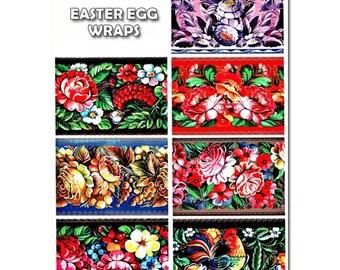 7 Zhostovo Easter Egg Wraps