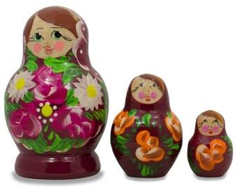 """3.5"""" Set of 3 Floral on Purple Dress Russian Matryoshka Dolls"""