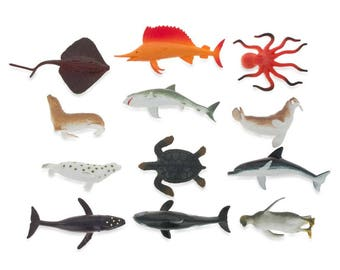 "2""  Set of 12 Plastic Sea Life Animals"