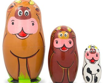 "4.25"" Set of 3 Cows Wooden Nesting Dolls"