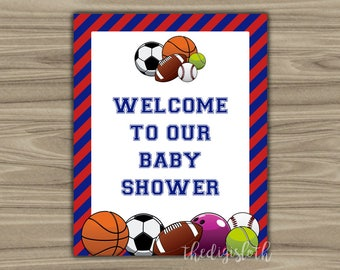 Sports - Baby Shower - Welcome - Sign - PRINTABLE - INSTANT DOWNLOAD - Sports Theme - diy - 062