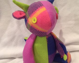 Patchwork Dragon Plush-- plaid