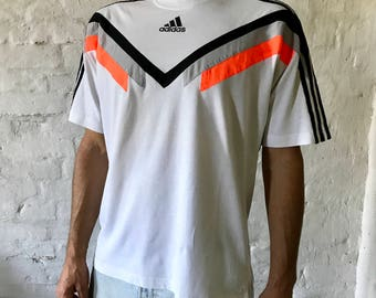 ADIDAS  Vintage T-shirt / Medium / White  / Black / Neon Orange / Crew / Shirt / 90's