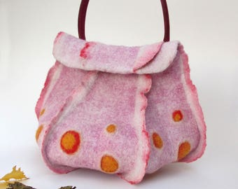 "Handbag pink felted wool ""Octopus"" natural leather handle"