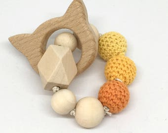 Cat Tiger wooden beads rattle