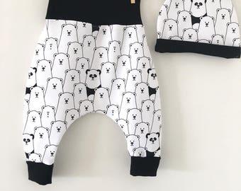 Together sarouel and warm panda Hat