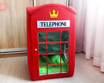 London telephone booth cat house, Red phone box cat furniture, Big pet house, XXL cat house, UK British gift for pet, Dog house.