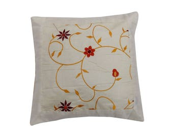 Indian Silk Cushion Cover Home Embroidery Work  Decorative White Color Size 17x17""