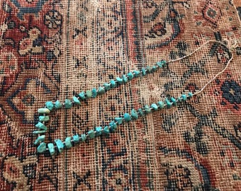 """Vintage turquoise beaded necklace / old pawn Native American heishi bead black lace / blue long 31"""" inches"""