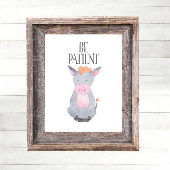 Donkey Nursery Art Print, Donkey Nursery Decor,  Farm Animal Nursery Art, Farm Nursery Print,  Country Nursery Art, Farmhouse Nursery