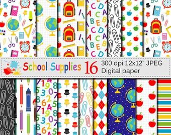 Back to School Digital paper, School Supplies pattern, Teacher Scrapbooking papers, School background, Education, Stationery, Download