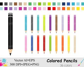 Colored Pencils Clip Art, Rainbow Pencils Clipart, Pencil Planner Stickers Clipart, Coloring Pencil Digital Download Vector Clip Art