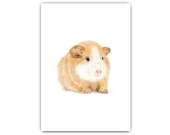 Printable Art, Guinea Pig Print, Pencil Drawing, Instant Download