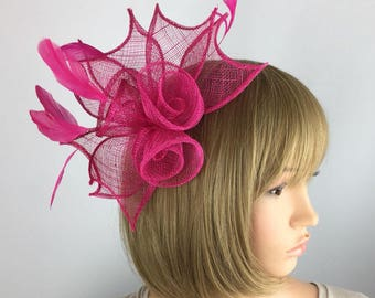 Fuchsia hot Pink fascinator rose comb Sinamay fascinator - Wedding, Mother of the Bride, Ascot, Ladies Day, BBQ, party, Races