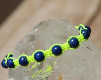 fluro with lapis lazuli beads shamballa bracelet