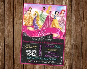 Disney Princess Invitation Birthday Disney Princess Party