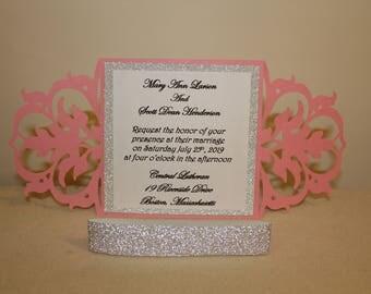Laser Cut Wedding Invitation, Laser Cut Invite, Wedding Invitation