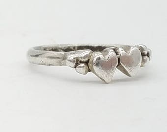 Vintage Sterling Silver Two Hearts Ring - Size 5.5