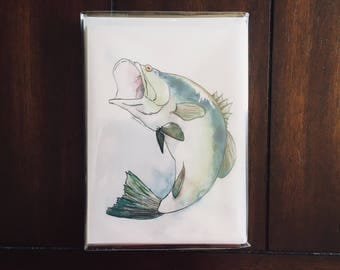 The Big One 5-Pack - Watercolor Bass Fish Blank Note Card Set