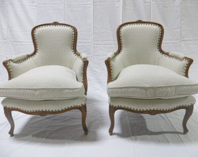 Late 19th Century French Fauteuil Armchair Down Filled Re-Upholstered in Heavy duty Cotton Loomed Fabric with Antique Brass Nailheads