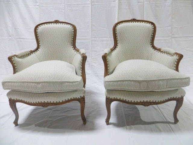 Late 19th Century French Fauteuil Armchair Down Filled Re Upholstered In  Heavy Duty Cotton Loomed Fabric With Antique Brass Nailheads
