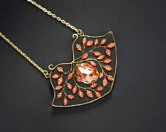 Leaves pendant Art deco leaf pendant necklace Art nouveau pendant necklace Branch pendant Pink leaf Filigree pendant Tree pendant