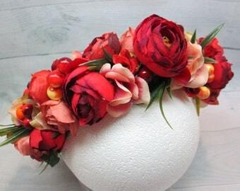 Wedding flower Red wedding Gift|for|wedding Flower bridal hair Wedding accessories  Floral crown |Red rose| Flower bridal crown Red bridal