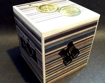 LIGHTS, CAMERA, ACTION - rustic hand-decorated box with a flap lid - keep you trinkets, keys, lists safe & drop in your loose change