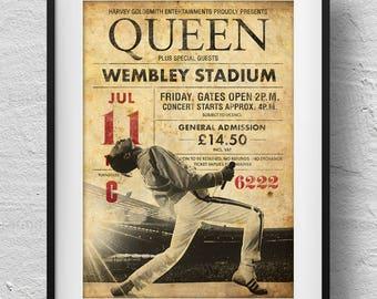Queen Poster, concert poster, Queen Print, retro concert ticket, Queen souvenir, original design, Freddie Mercury