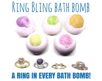 Aromatherapy Bling Ring Bath Bombs - Jewelry Bath Bomb - Rings In Bath Bombs - Bling Bath Bomb - Bath Fizzies Surprise - Gifts for Her