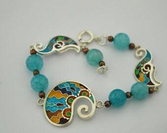 Pure silver cloisonne enamel bracelet