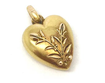 Victorian 15ct Gold Puffy Heart Charm/Pendant
