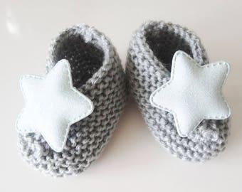 grey wool baby booties handmade - baby - wool slippers shoes.